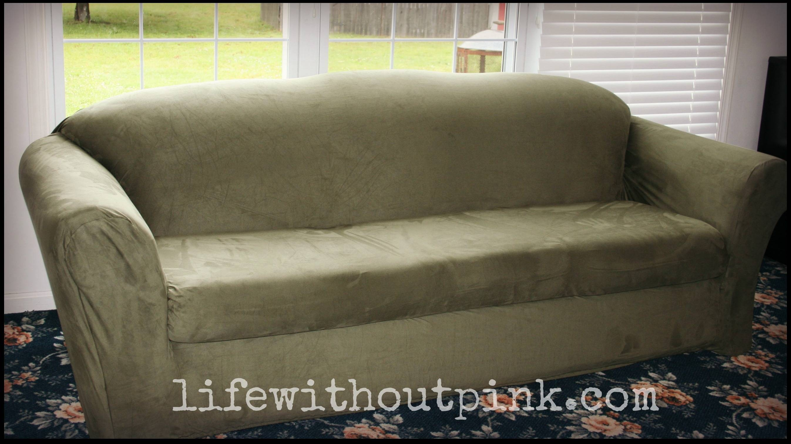 Sure Fit Slipcover Review {Video} | Life Without Pink pertaining to Stretch Slipcovers For Sofas (Image 11 of 15)