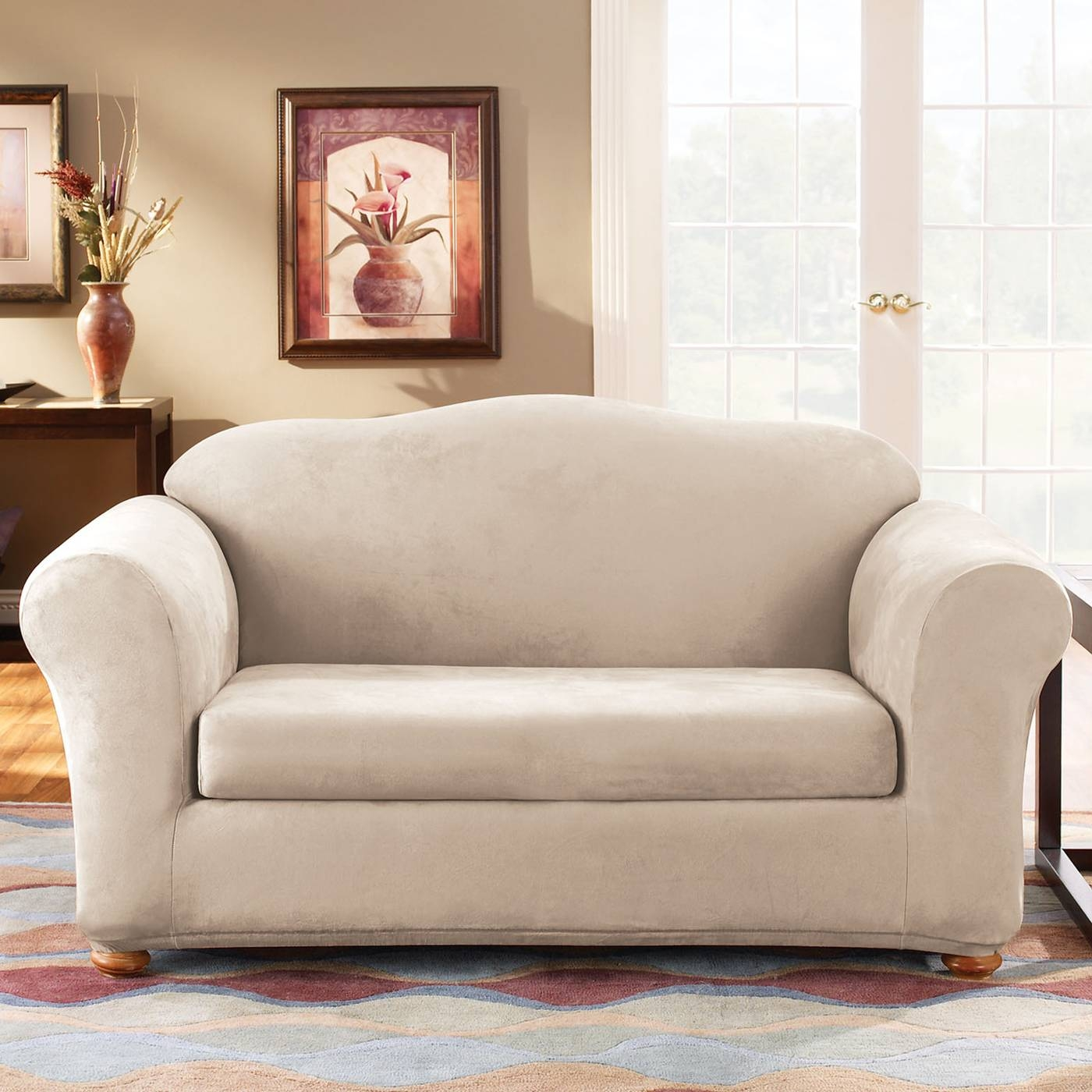 Sure Fit Slipcovers Form Fit Stretch Suede 2-Piece Sofa Slipcover for Suede Slipcovers For Sofas (Image 10 of 15)