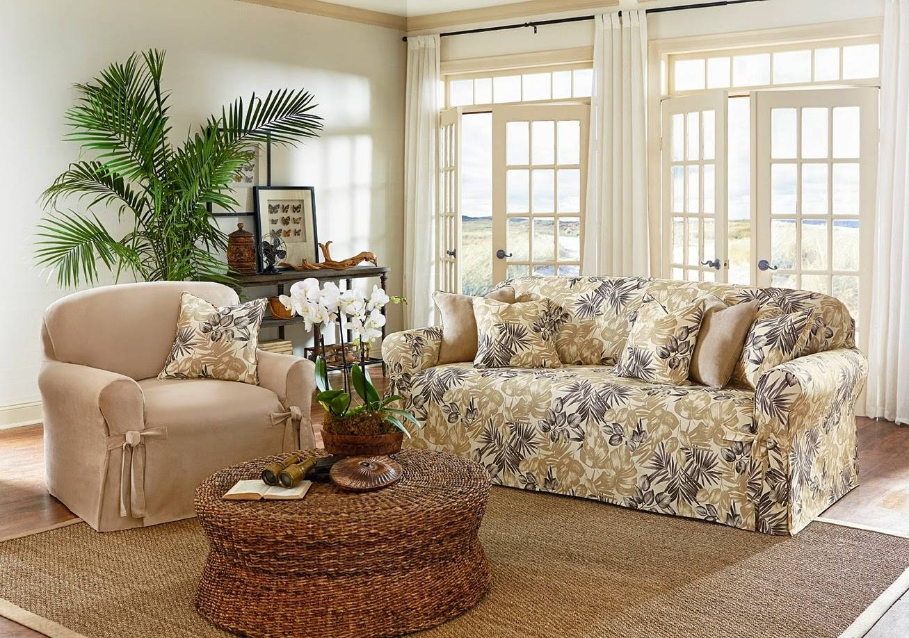 Sure Fit Slipcovers: Leafy, Breezy, Easy -- Tropical Floral pertaining to Floral Slipcovers (Image 11 of 15)