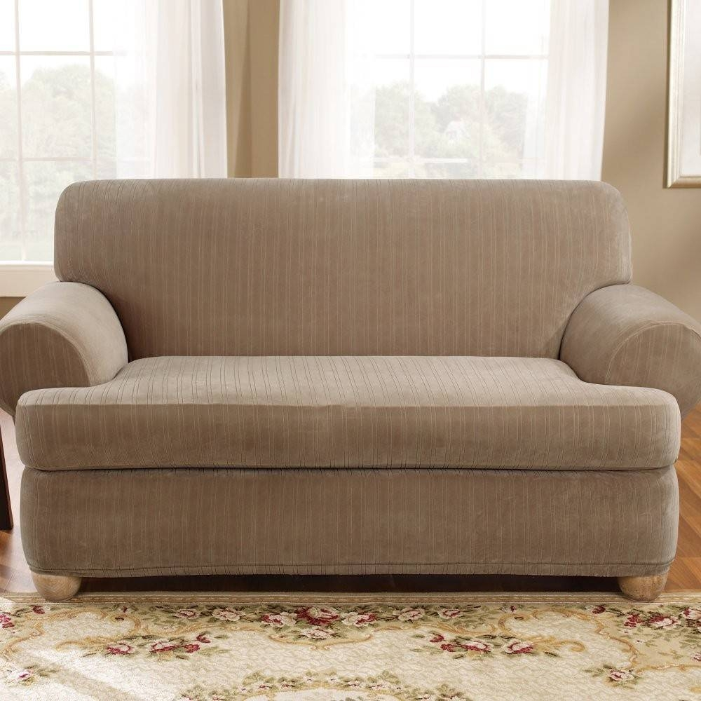 Sure Fit Stretch Pinstripe 2-Piece T-Cushion Sofa Slipcover Taupe with Stretch Slipcover Sofas (Image 13 of 15)