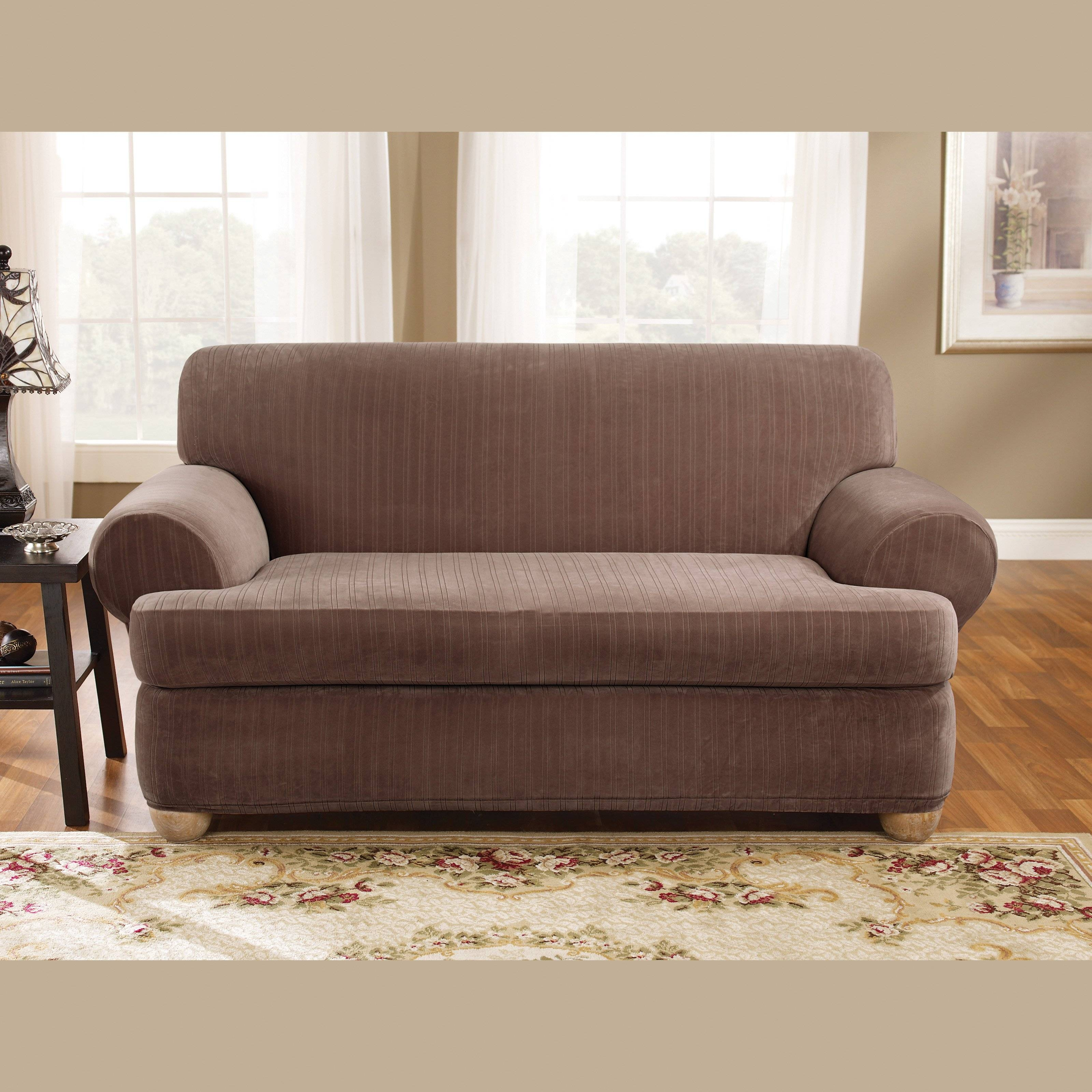 Sure Fit Stretch Pinstripe T-Cushion Two Piece Loveseat Slipcover throughout Loveseat Slipcovers T-Cushion (Image 13 of 15)