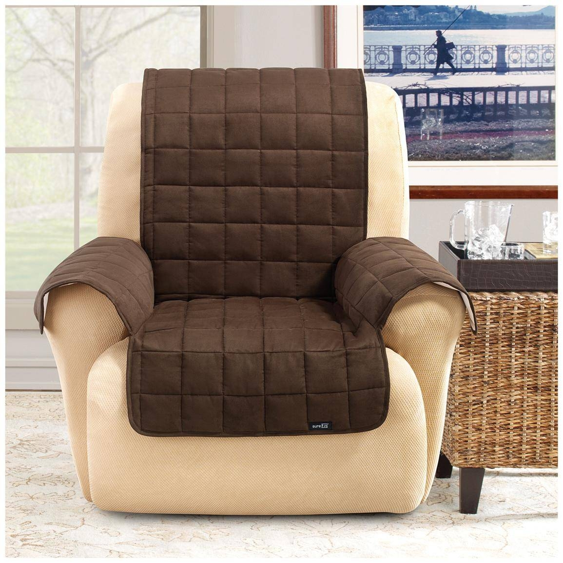 Sure Fit® Waterproof Quilted Suede Wing Chair / Recliner Pet Cover Intended For Stretch Covers For Recliners (View 15 of 15)