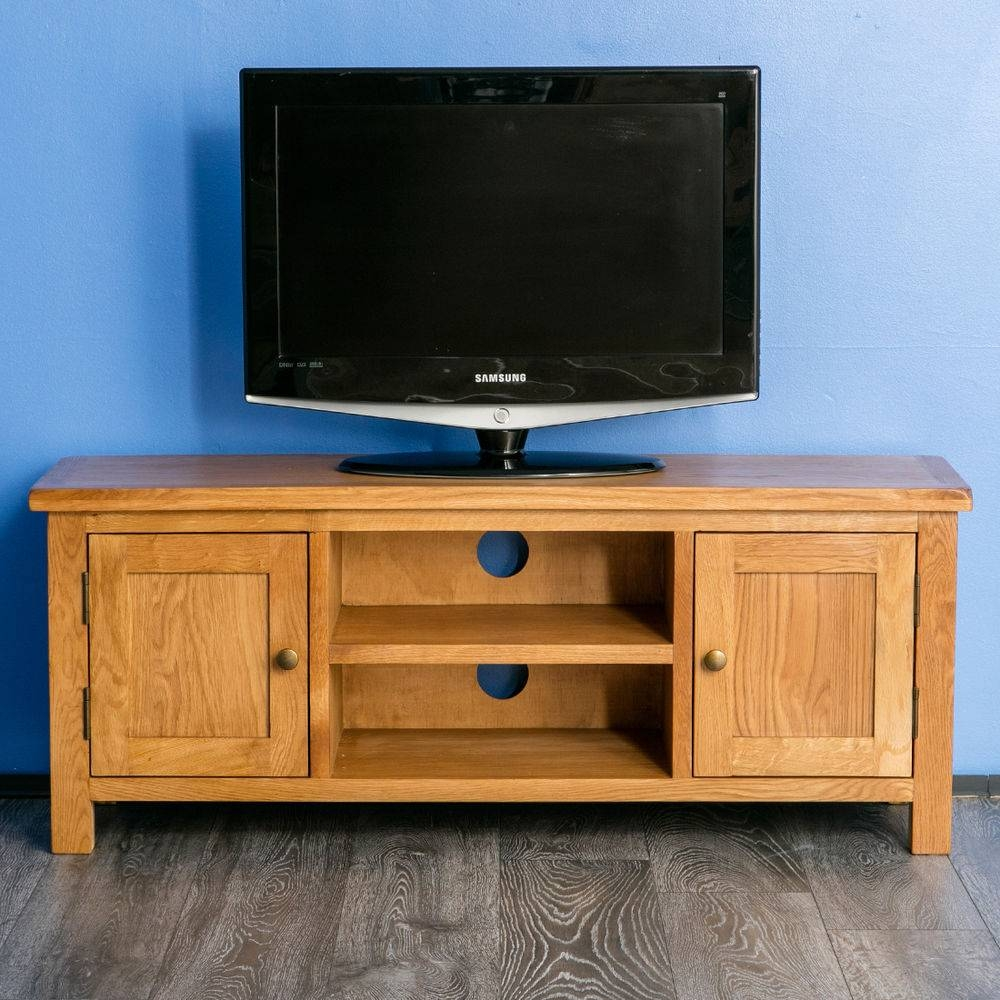 Surrey Oak Large Tv Stand / Oak Plasma Tv Unit / Cabinet / Brand pertaining to Oak Tv Stands for Flat Screens (Image 8 of 15)