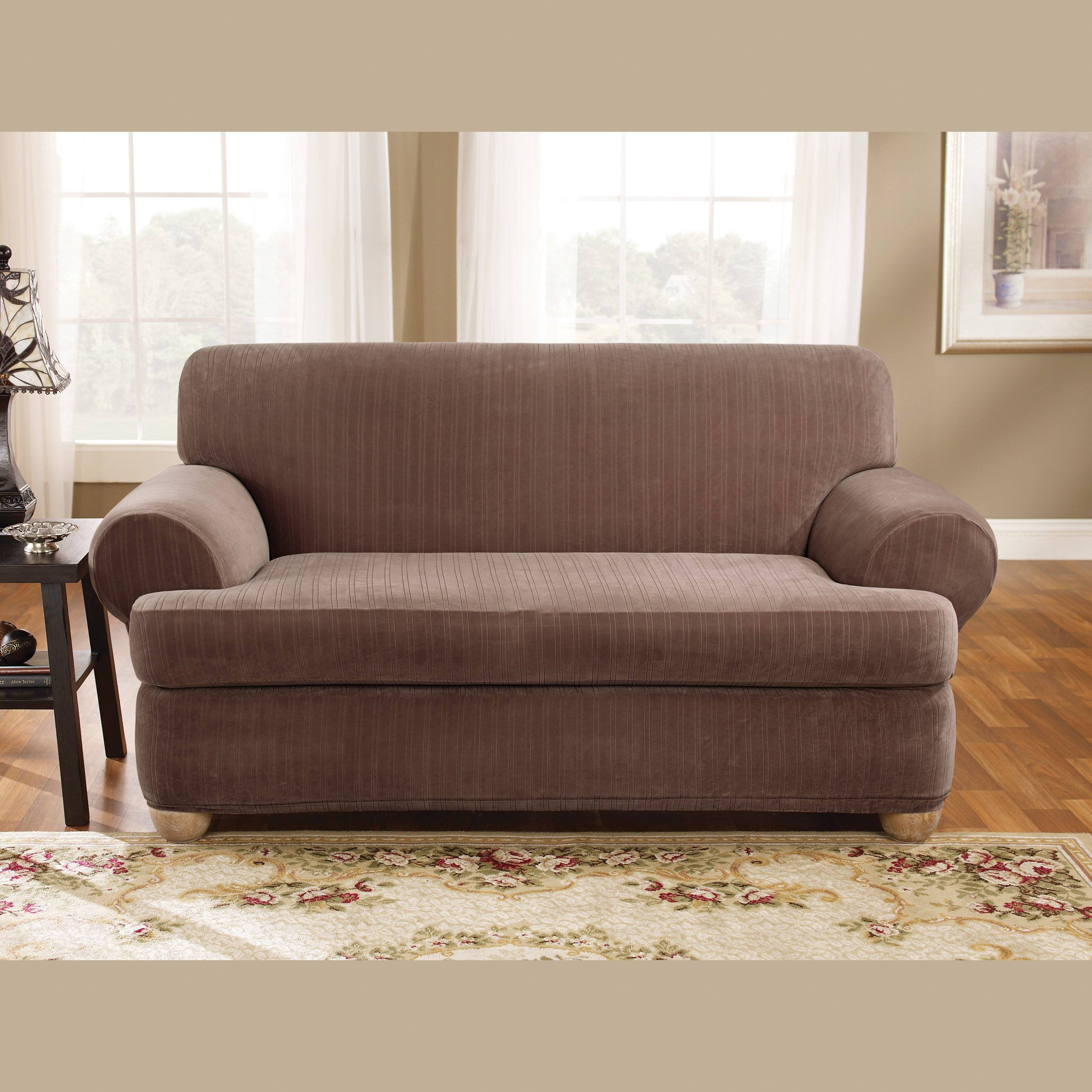 T Cushion Sofa Slipcover Stretch | Centerfieldbar for Black Sofa Slipcovers (Image 15 of 15)