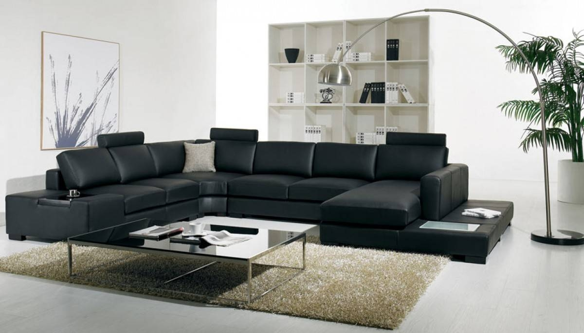 T35 Modern Black Leather Sectional Living Room Furniture in Black Modern Sectional Sofas (Image 15 of 15)