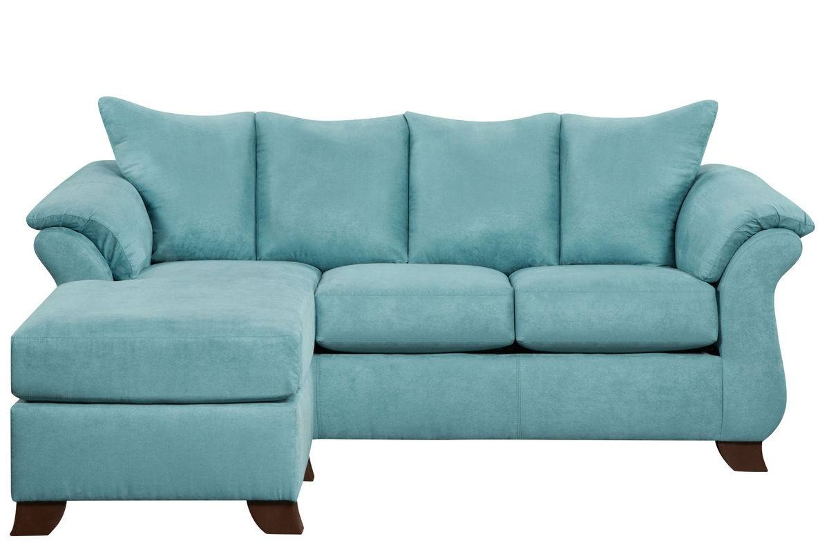Taffy Microfiber Sofa With Floating Ottoman in Blue Microfiber Sofas (Image 15 of 15)