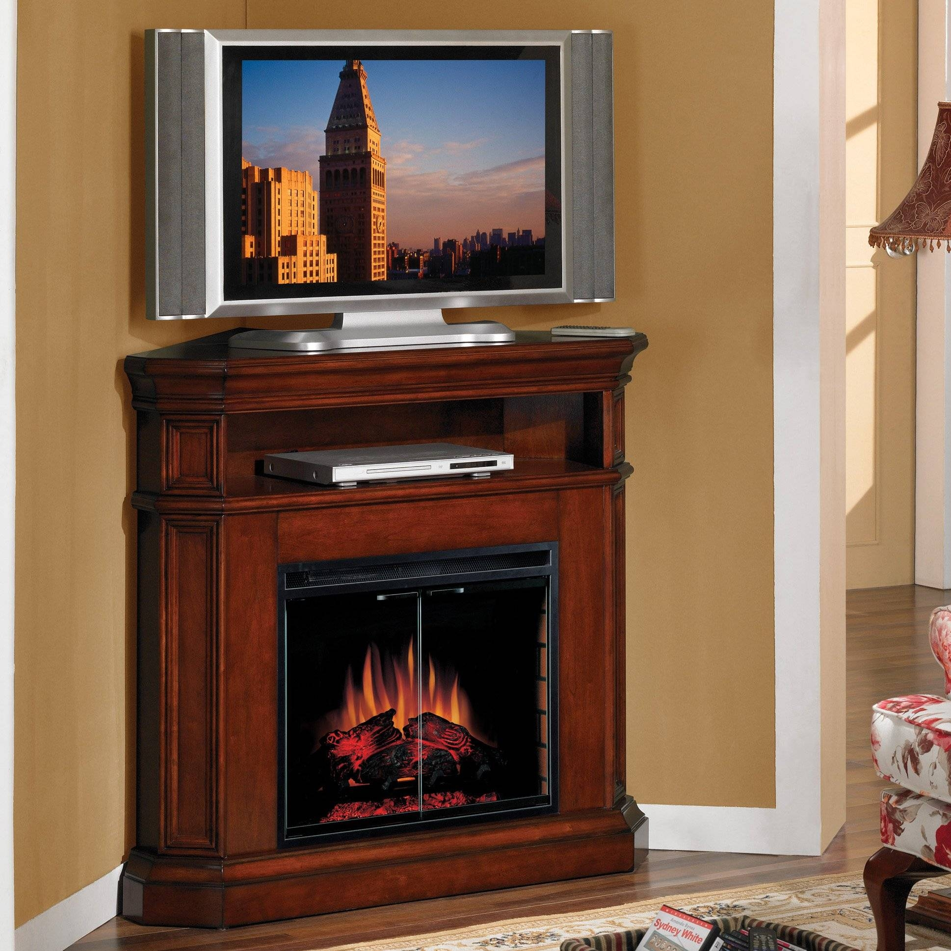 Tall Brown Varnished Mahogany Wood Corner Tv Stand With Media for Dark Brown Corner Tv Stands (Image 11 of 15)