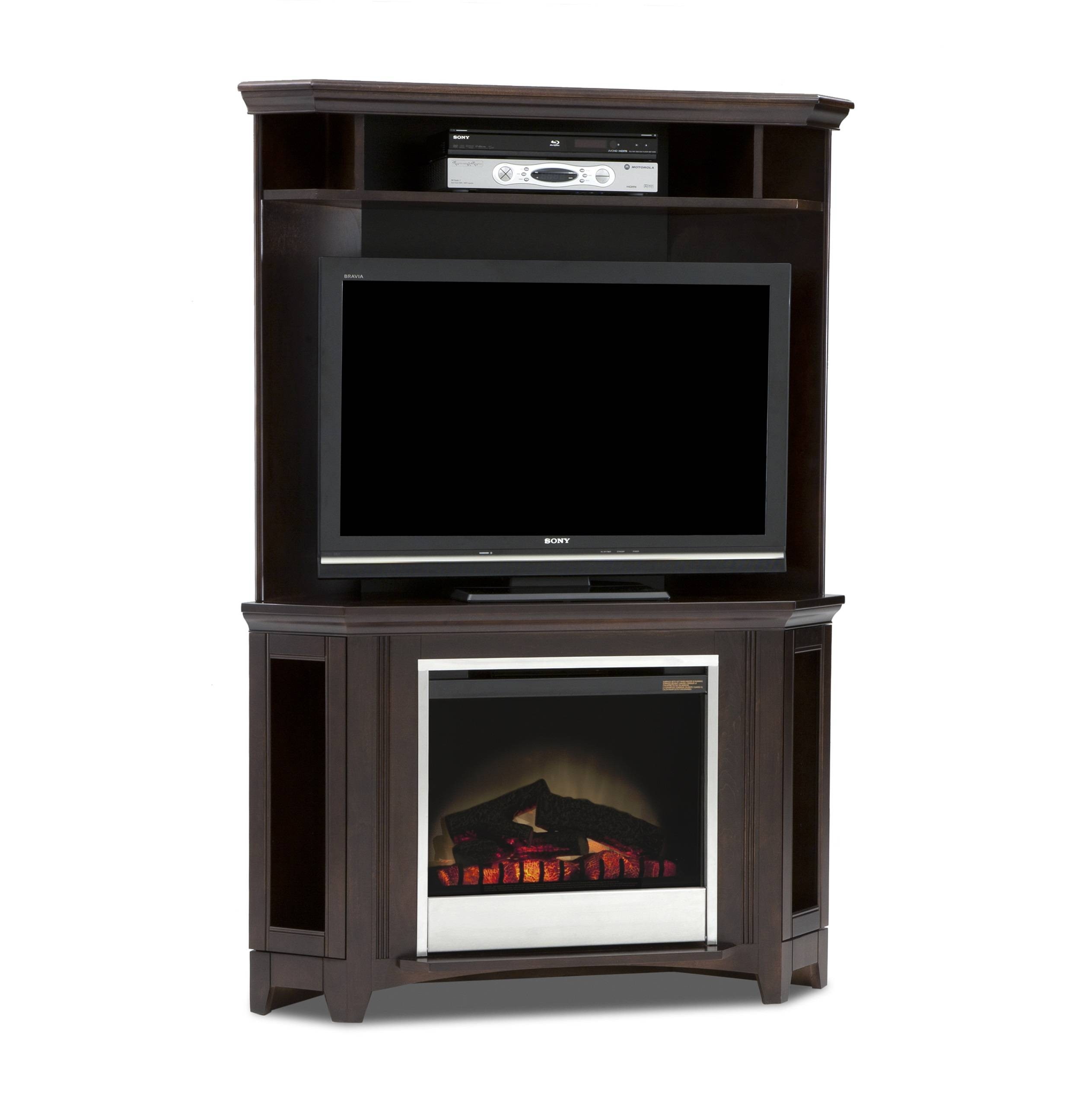 Tall Corner Tv Stand Cabinet With Fireplace Insert And Media pertaining to Cornet Tv Stands (Image 9 of 15)
