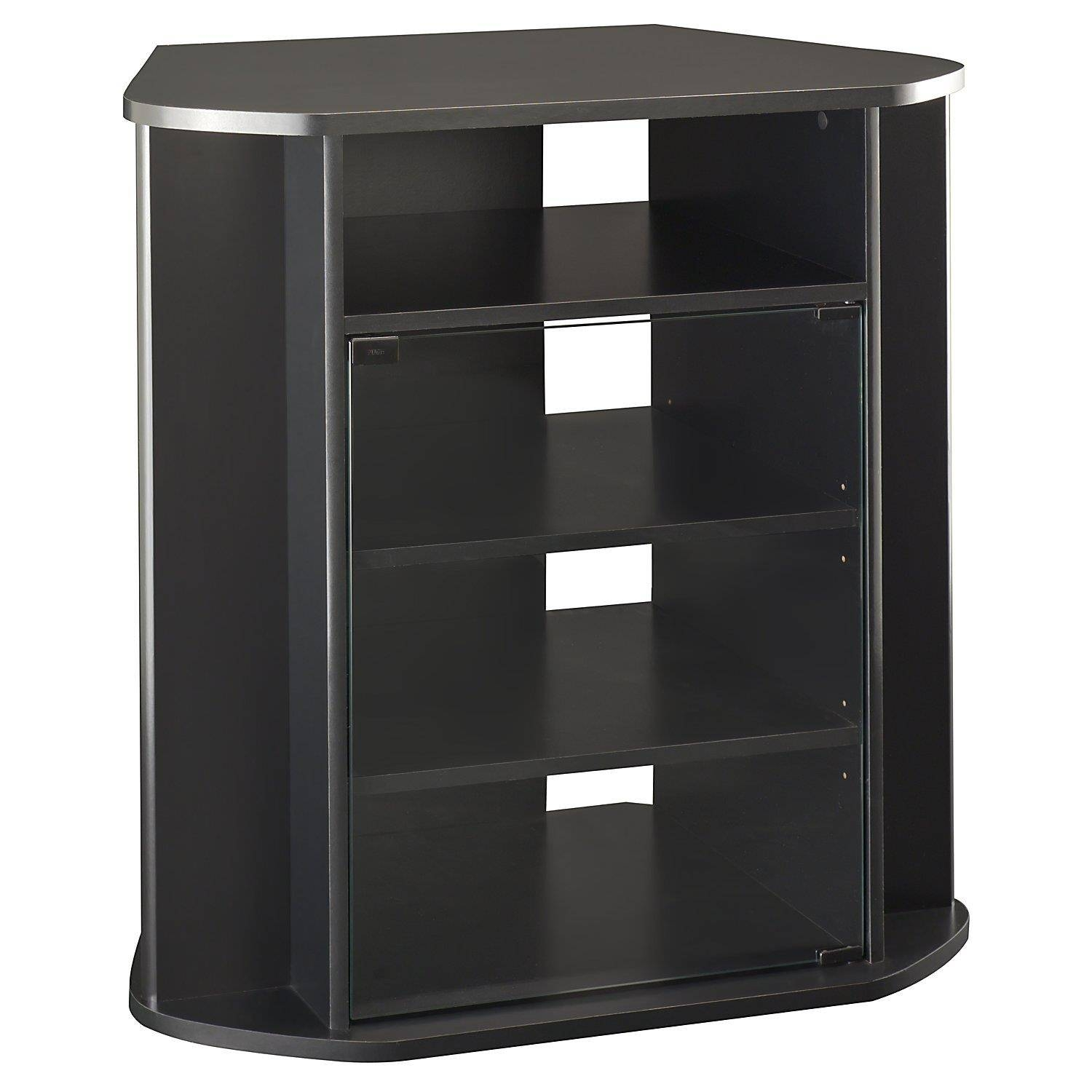 Tall Corner Tv Stand With Glass Door Cabinet In Black Color pertaining to Corner Tv Cabinets With Glass Doors (Image 13 of 15)