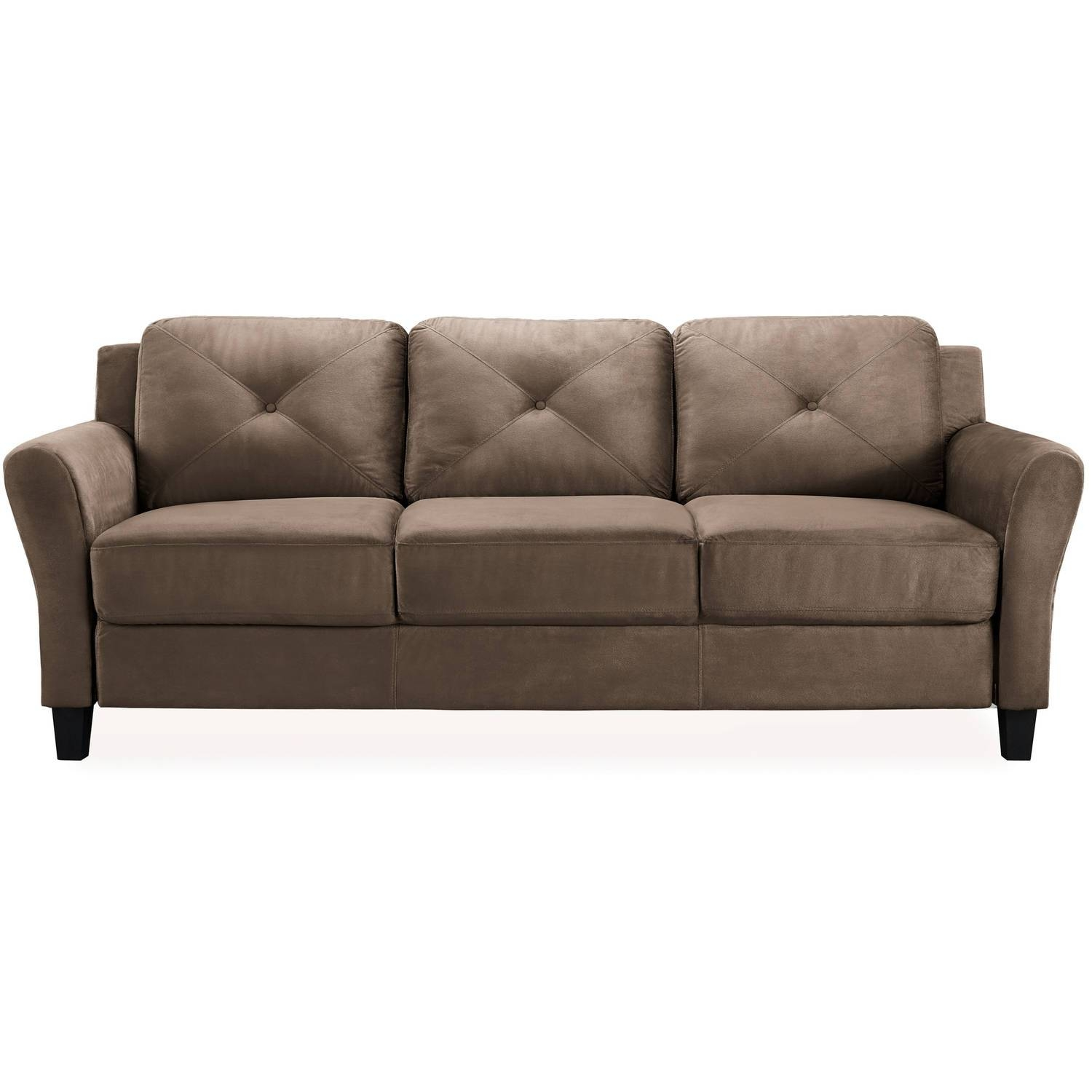 Taryn Rolled-Arm Sofa, Brown - Walmart throughout Green Microfiber Sofas (Image 15 of 15)