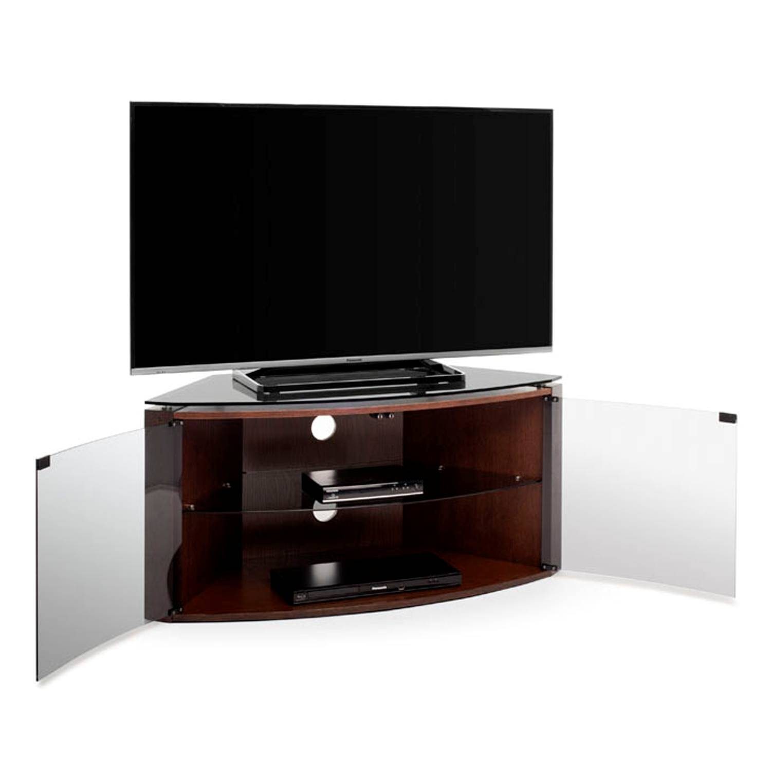"Techlink Bench B6Do Dark Oak Corner Tv Stand For Up To 55"" Tvs regarding Techlink Bench Corner Tv Stands (Image 4 of 15)"