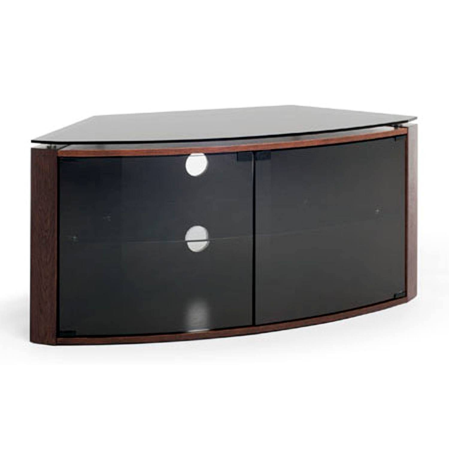 "Techlink Bench B6Do Dark Oak Corner Tv Stand For Up To 55"" Tvs with Corner Tv Unit With Glass Doors (Image 14 of 15)"