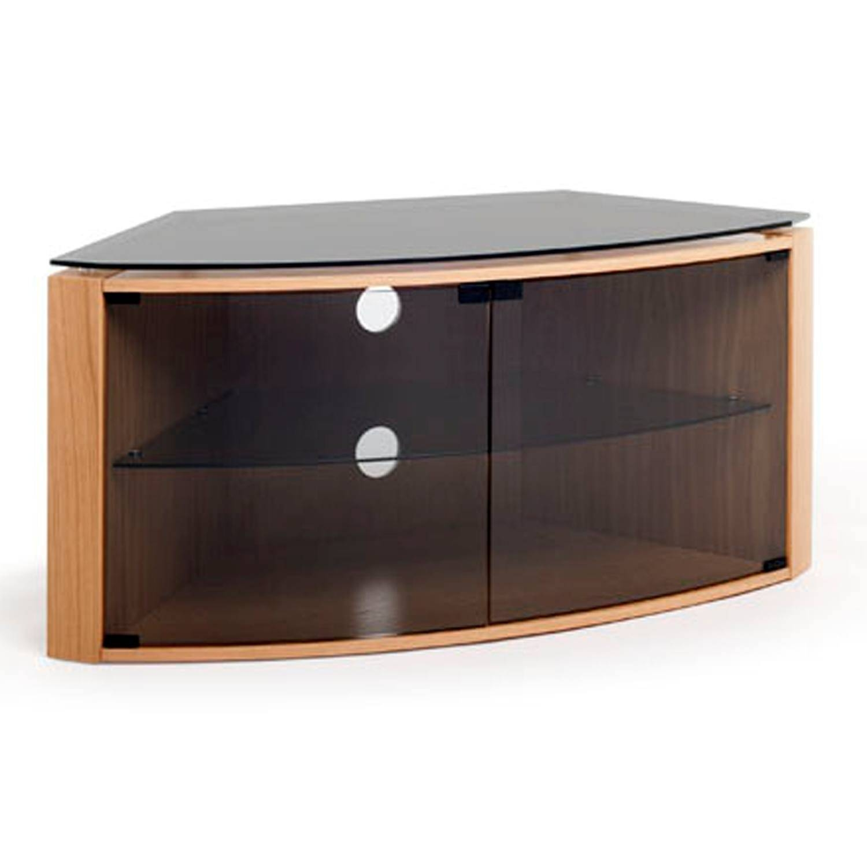 "Techlink Bench B6Lo Light Oak Corner Tv Stand For Up To 55"" Tvs inside Techlink Corner Tv Stands (Image 7 of 15)"