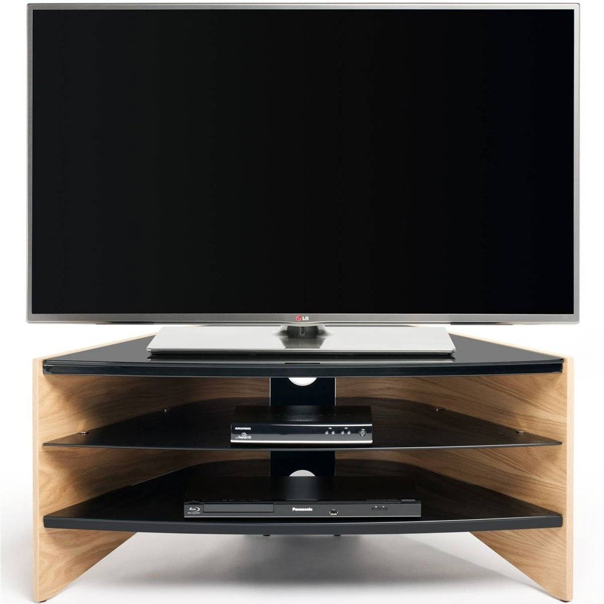 "Techlink Riva Light Oak/black Tv Stand For Up To 50"" regarding Techlink Riva Tv Stands (Image 10 of 15)"