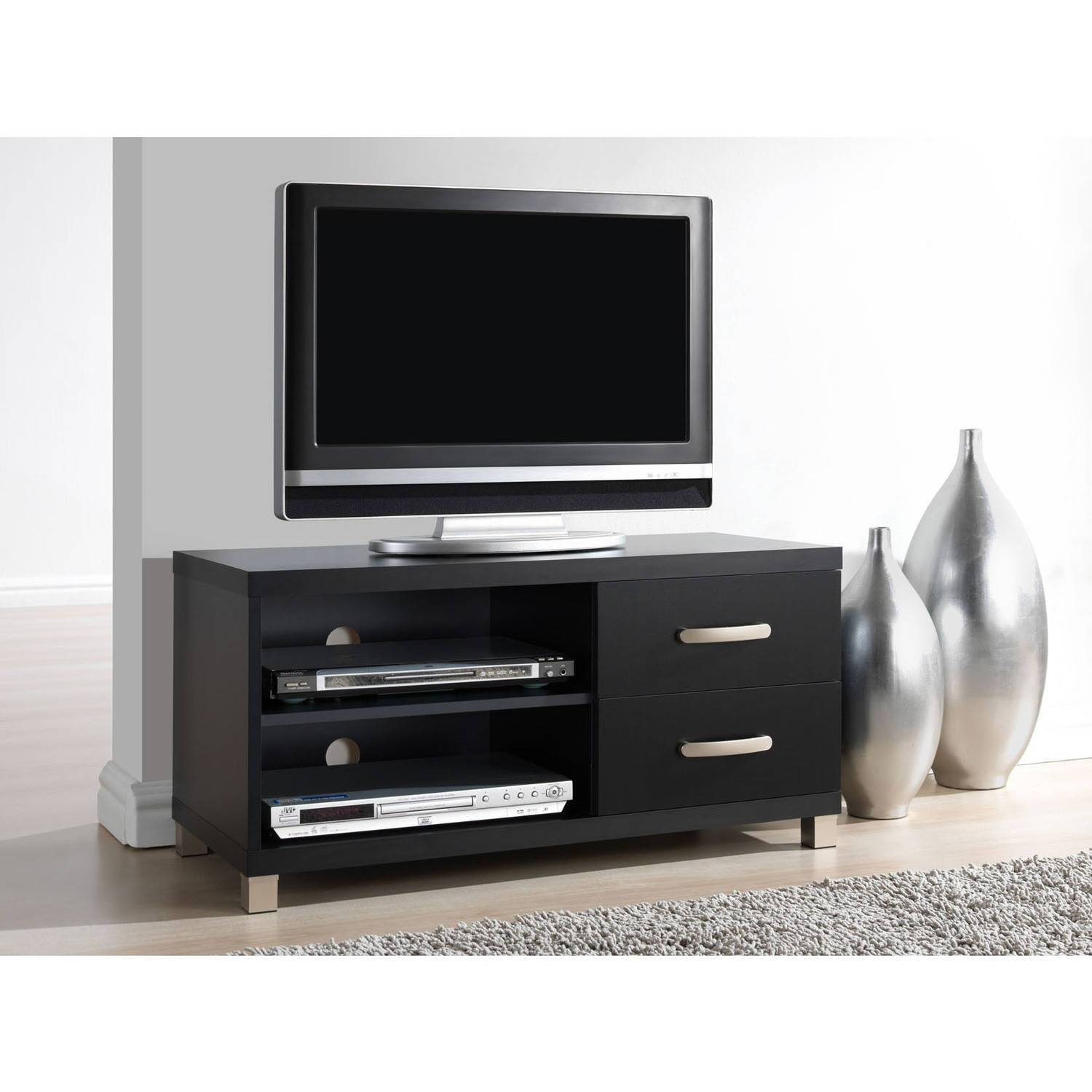 Techni Mobili 2 Drawer Tv Cabinet, Black - Walmart with regard to Black Tv Cabinets With Drawers (Image 11 of 15)