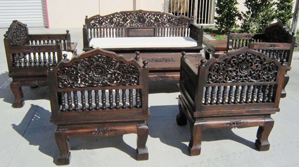 Thai Hand Carved Furniture Set Regarding Carved Wood Sofas (View 12 of 15)