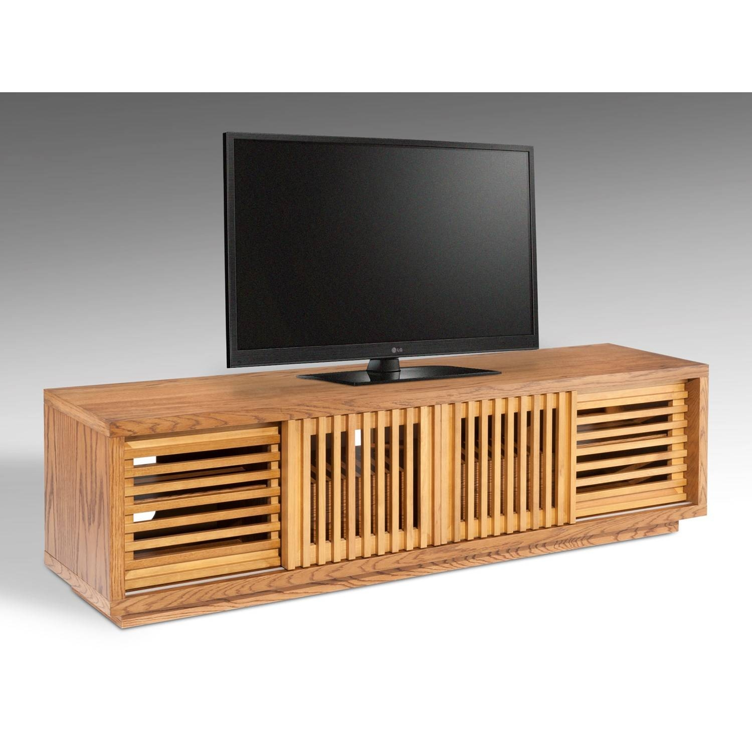 "The Simple Stores 81.5"" Designer American White Oak Tv Stand In in Honey Oak Tv Stands (Image 3 of 15)"