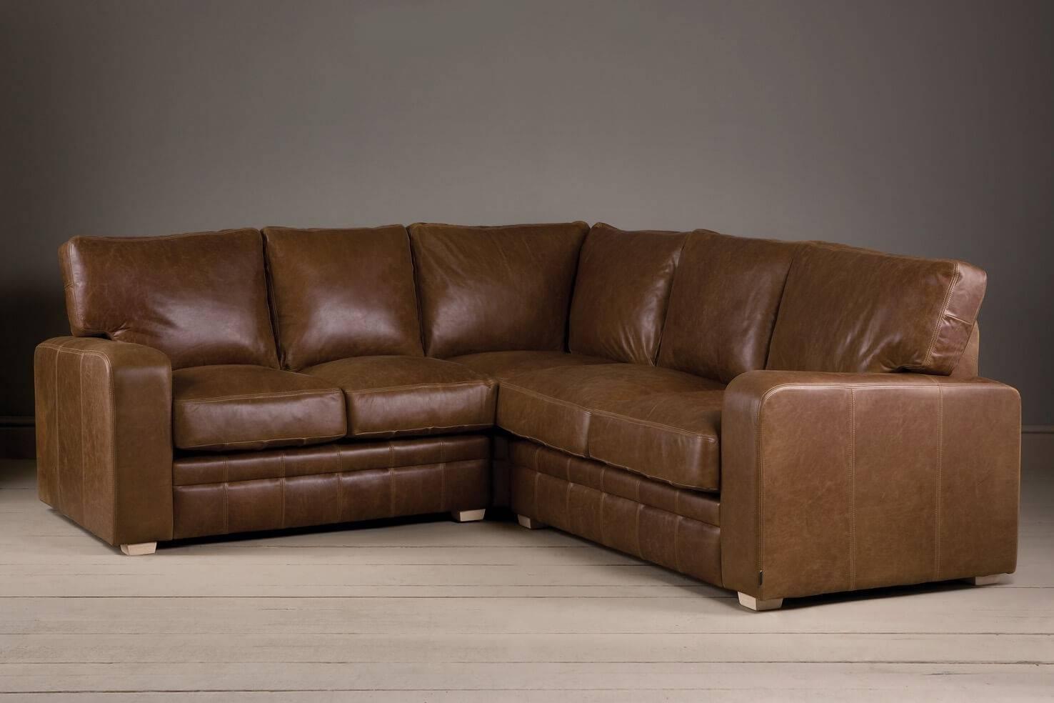 The Square Arm Leather Corner Sofaindigo Furniture within Corner Sofas (Image 13 of 15)