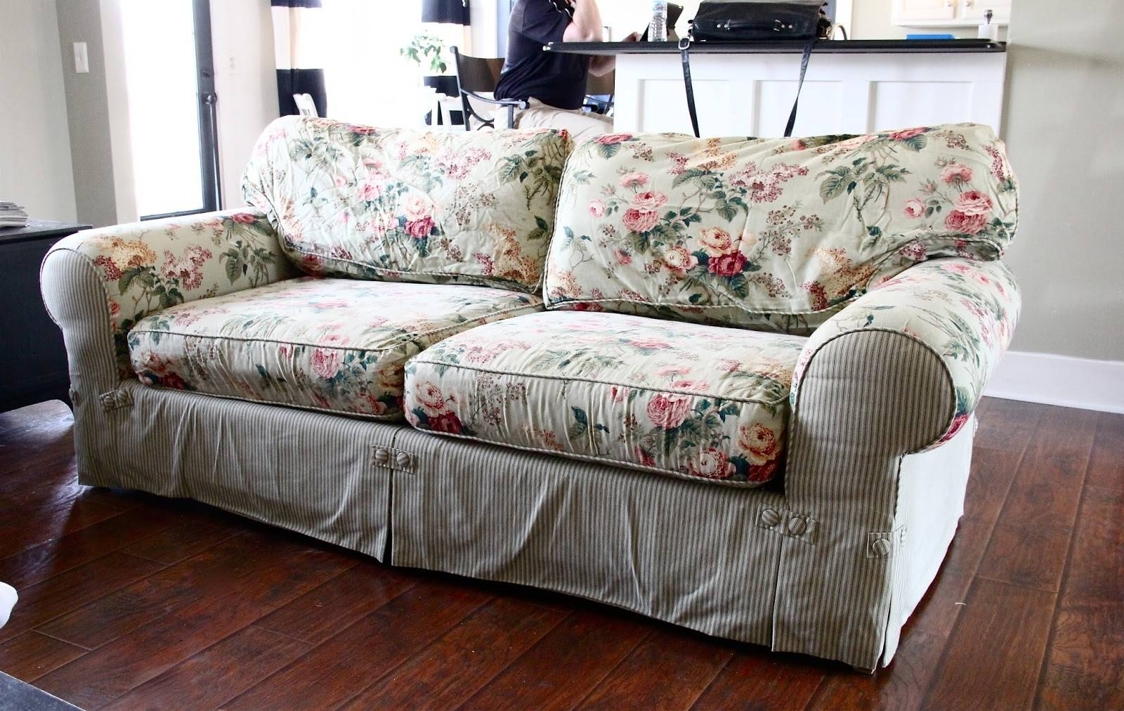 The Yellow Cape Cod: Ten Year Old Sofa Makeover with regard to Floral Slipcovers (Image 14 of 15)