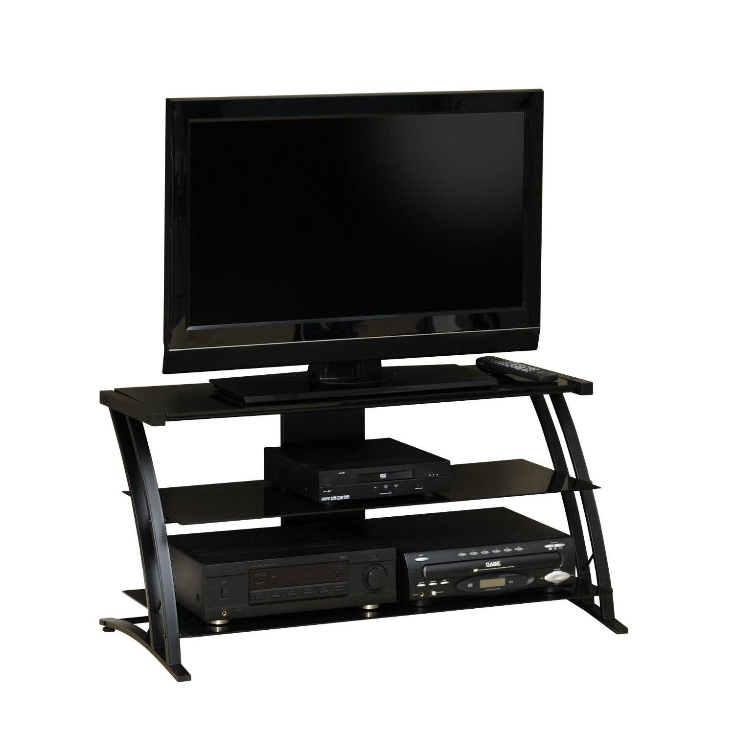 Three Tier Glass Shelves Tv Stand Using Curved Black Polished throughout Modern Glass Tv Stands (Image 9 of 15)