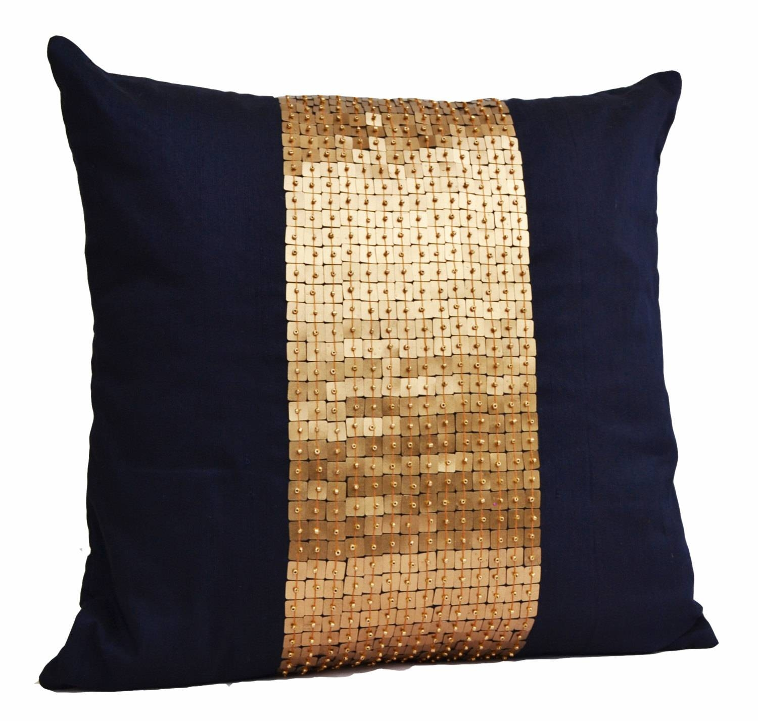 Throw Pillows Navy Blue Gold Color Block In Silk Sequin Bead throughout Gold Sofa Pillows (Image 14 of 15)