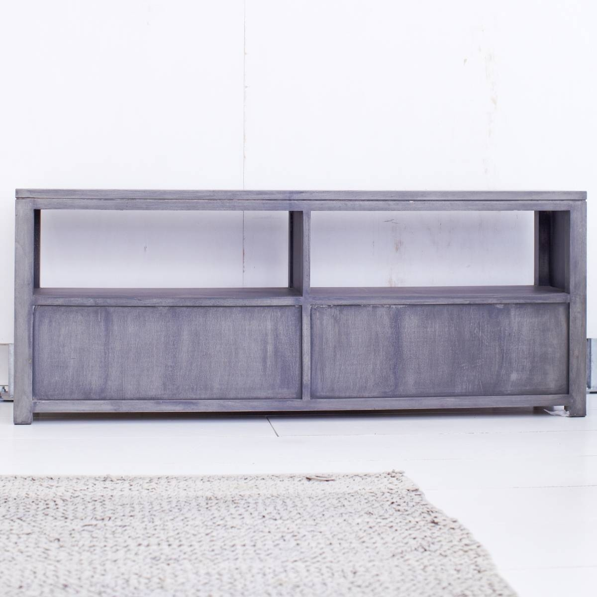 Tikamoon Solid Painted Grey Mindi Tv Cabinet Entertainment Unit Tv inside Grey Wood Tv Stands (Image 7 of 15)