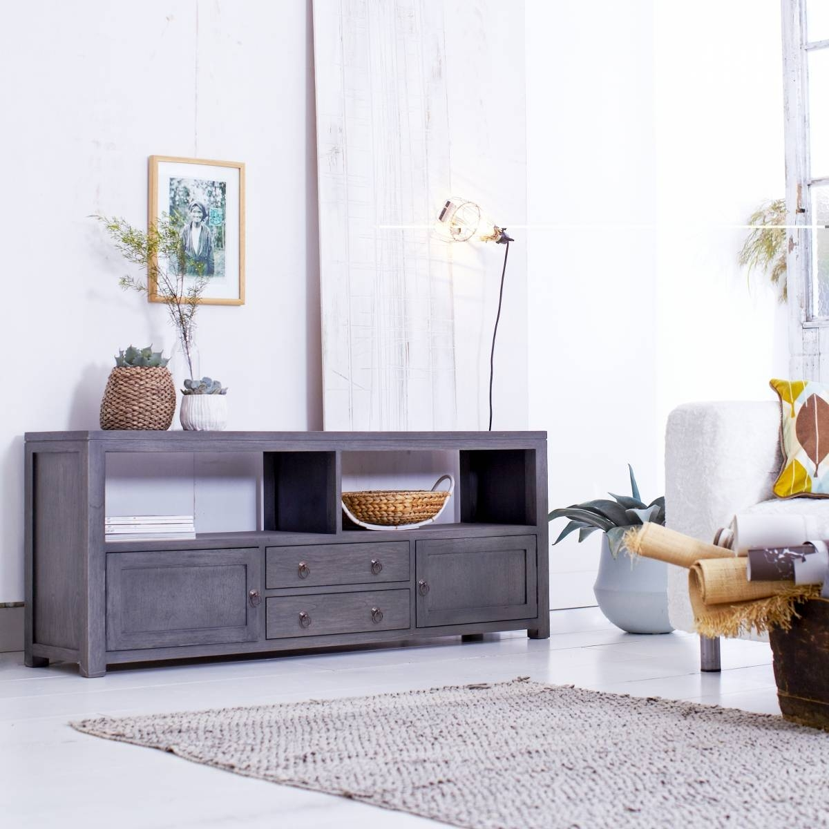 Tikamoon Solid Painted Grey Mindi Tv Cabinet Entertainment Unit Tv intended for Grey Wood Tv Stands (Image 8 of 15)