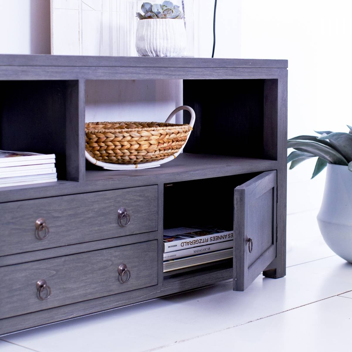 Tikamoon Solid Painted Grey Mindi Tv Cabinet Entertainment Unit Tv Regarding 150Cm Tv Unit (View 9 of 15)