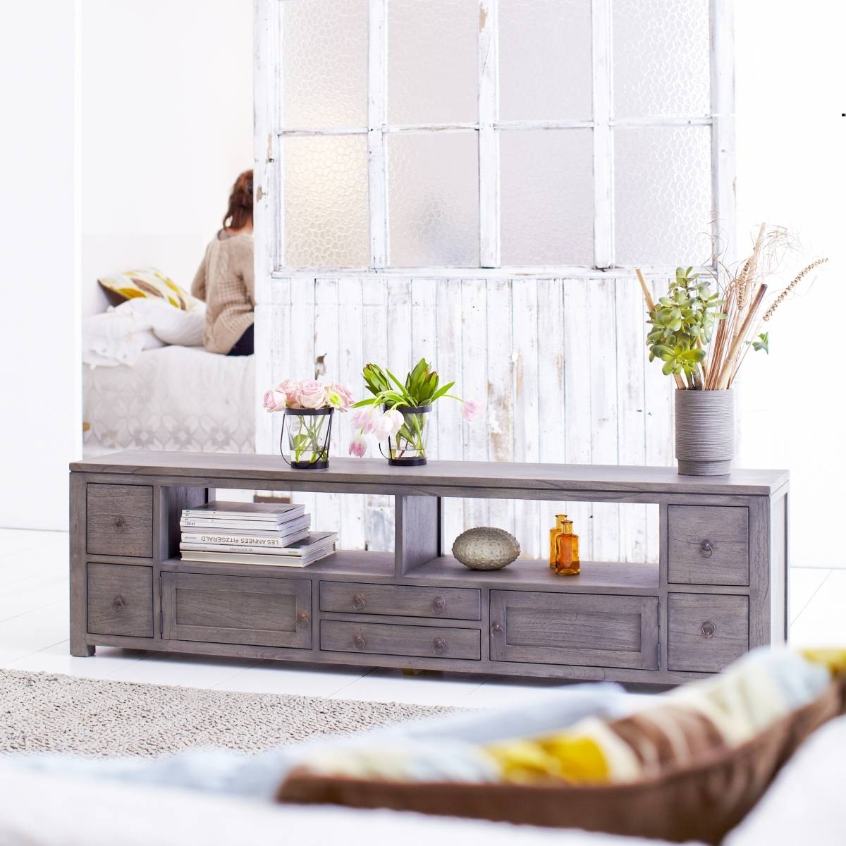 Tikamoon Solid Painted Grey Mindi Wood Tv Cabinet Entertainment with regard to Grey Wood Tv Stands (Image 11 of 15)