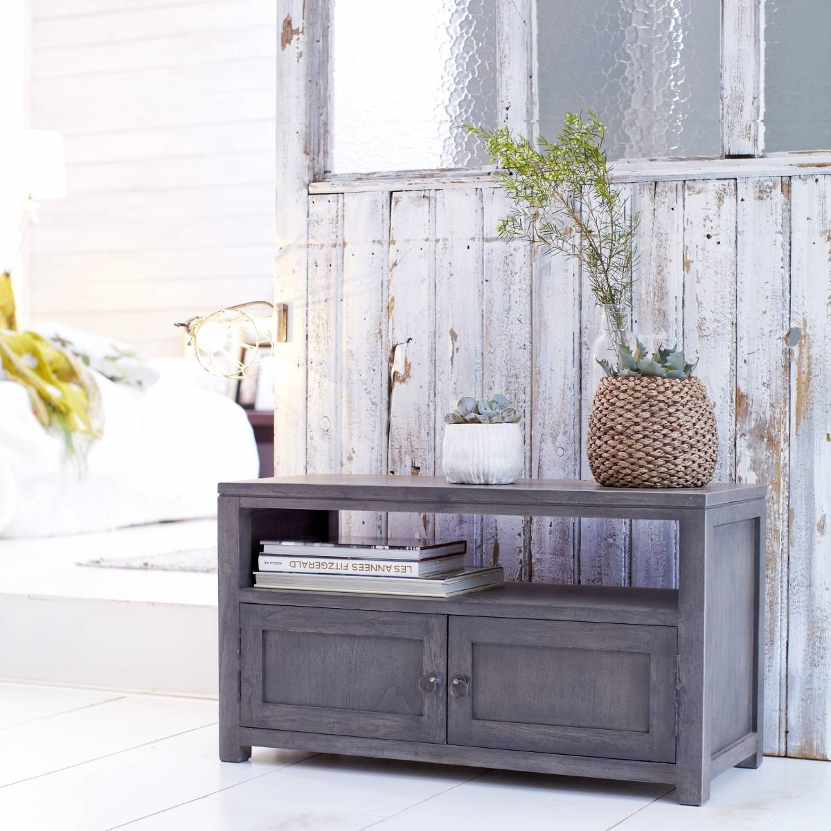 Tikamoon Solid Painted Grey Small Wood Mindi Tv Stand Tv Cabinet intended for Grey Wood Tv Stands (Image 10 of 15)