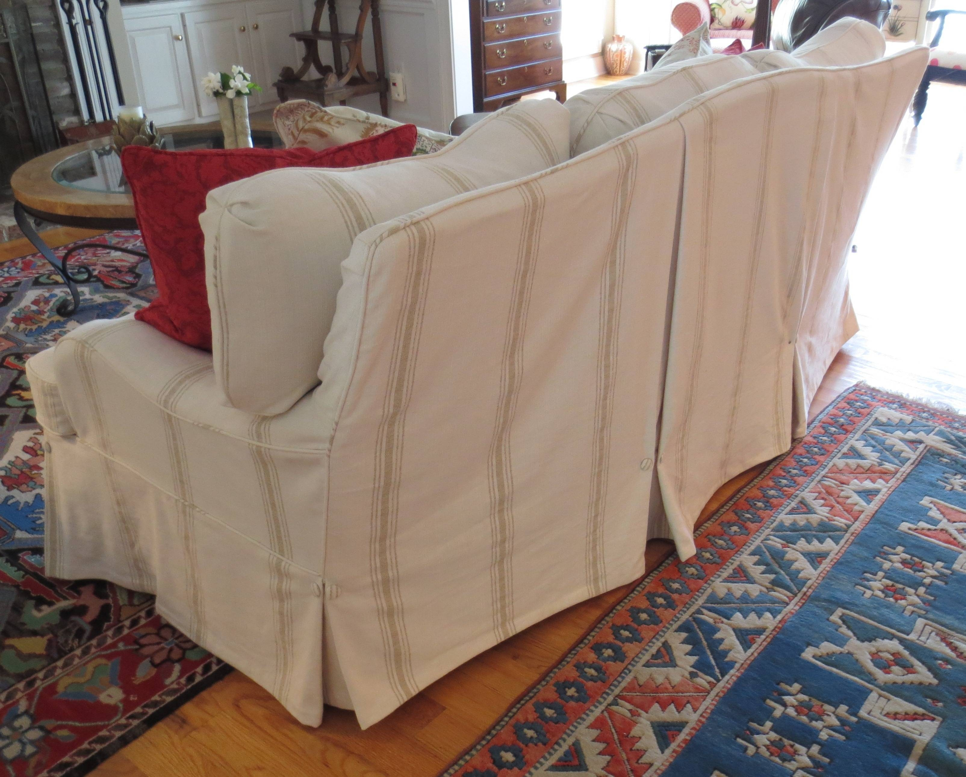 Tips: Smooth Slipcovers Sofa For Cozy Your Furniture Ideas with regard to Striped Sofa Slipcovers (Image 15 of 15)