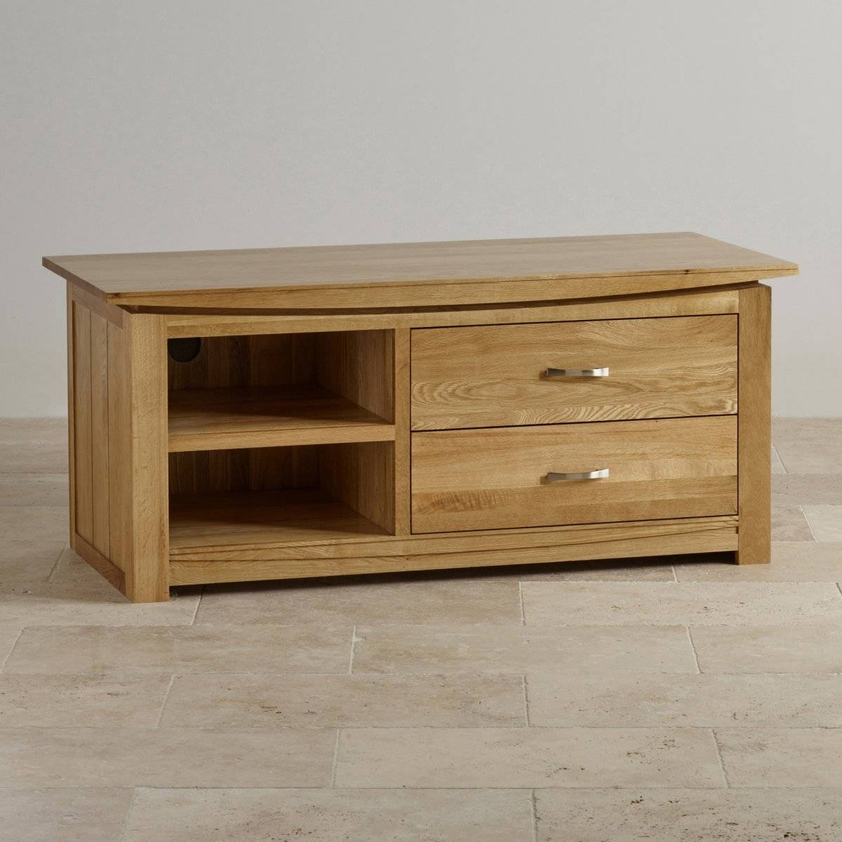 Tokyo Natural Solid Oak Widescreen Tv + Dvd Cabinet with Hardwood Tv Stands (Image 11 of 15)