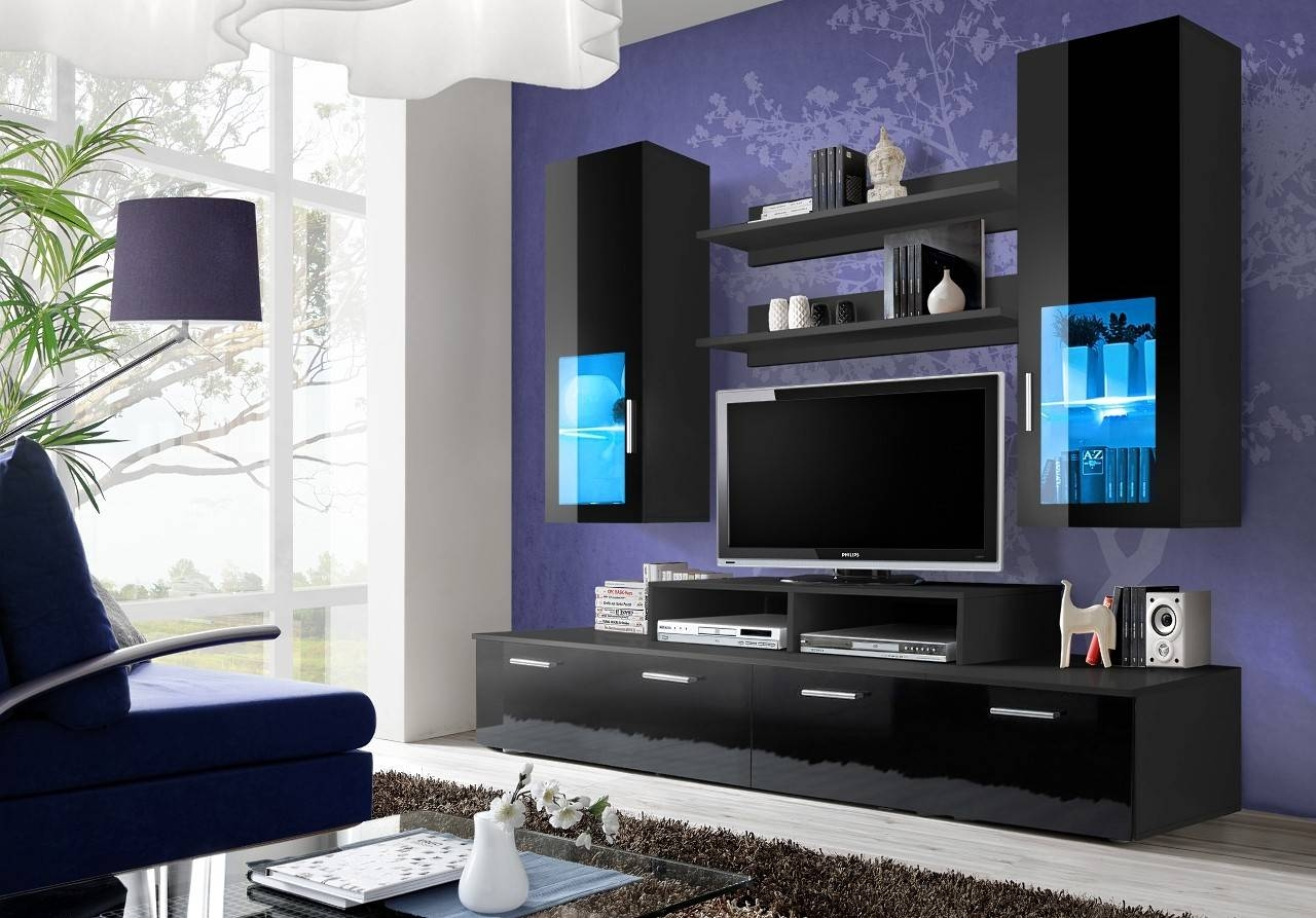Toledo 3 - Modern Wall Units - Living Room Ideaforhome within Black Gloss Tv Wall Unit (Image 10 of 15)