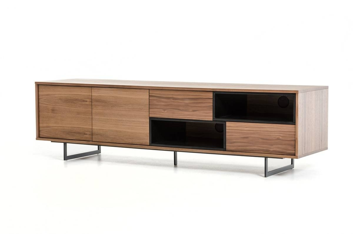 Torlonia Modern Walnut & Black Tv Stand regarding Walnut Tv Cabinets With Doors (Image 11 of 15)