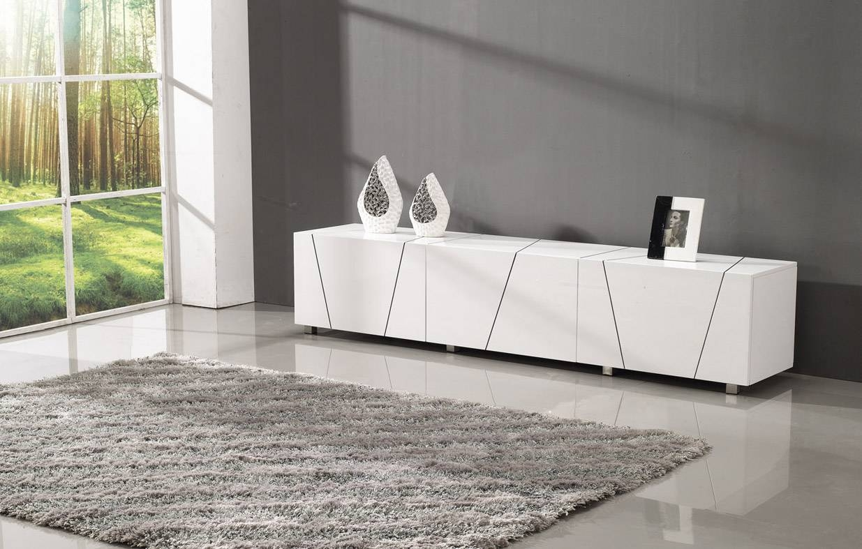 Tosh Furniture V9009 Modern Tv Stand In White – Fss Commerce With White Modern Tv Stands (View 11 of 15)