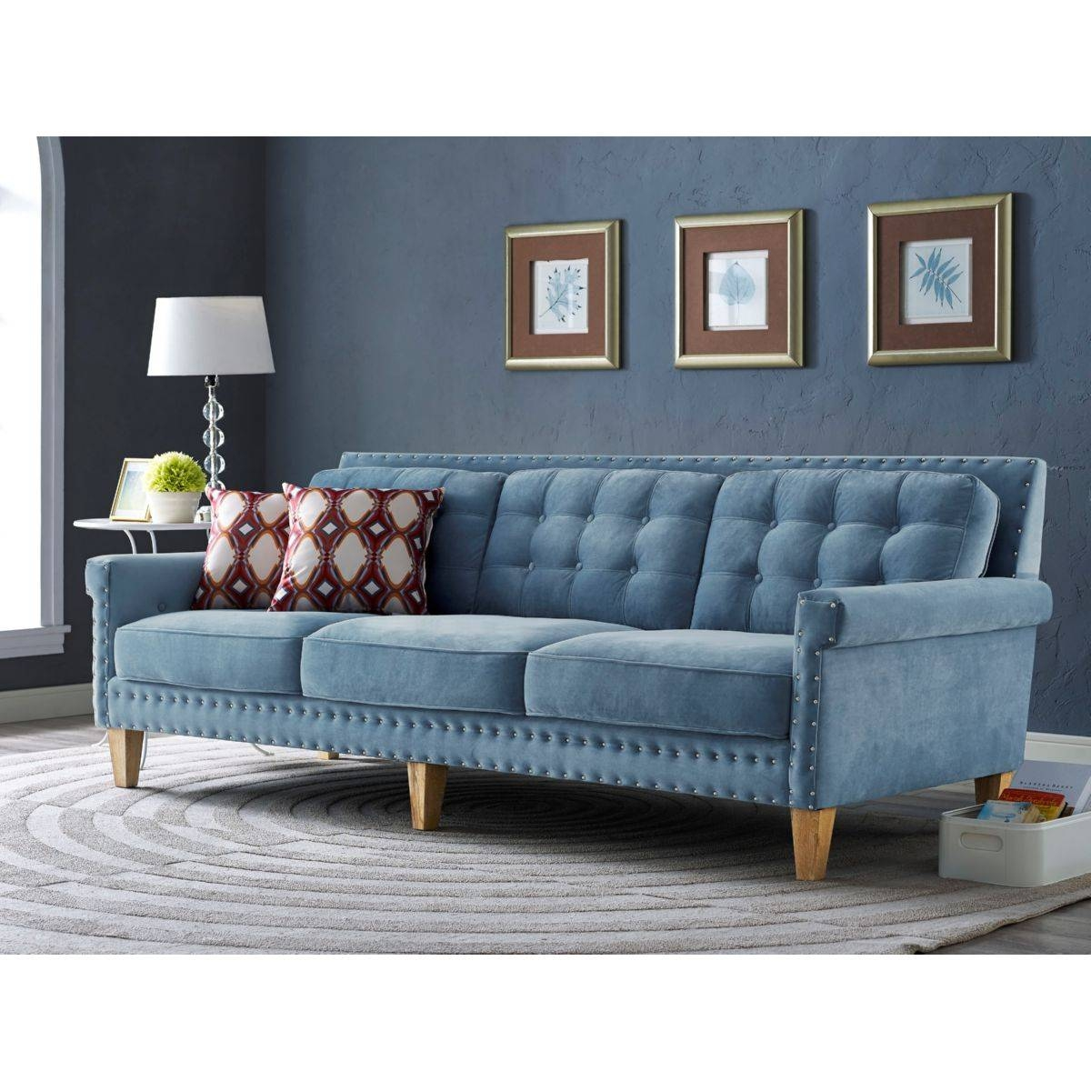 Tov Furniture Tov-S75 Jonathan Tufted Blue Velvet Sofa W/ Silver within Silver Tufted Sofas (Image 13 of 15)