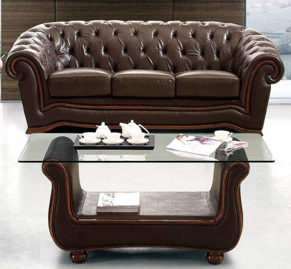Traditional Brown Italian Leather Sofa Prime Classic Design regarding Italian Leather Sofas (Image 14 of 15)