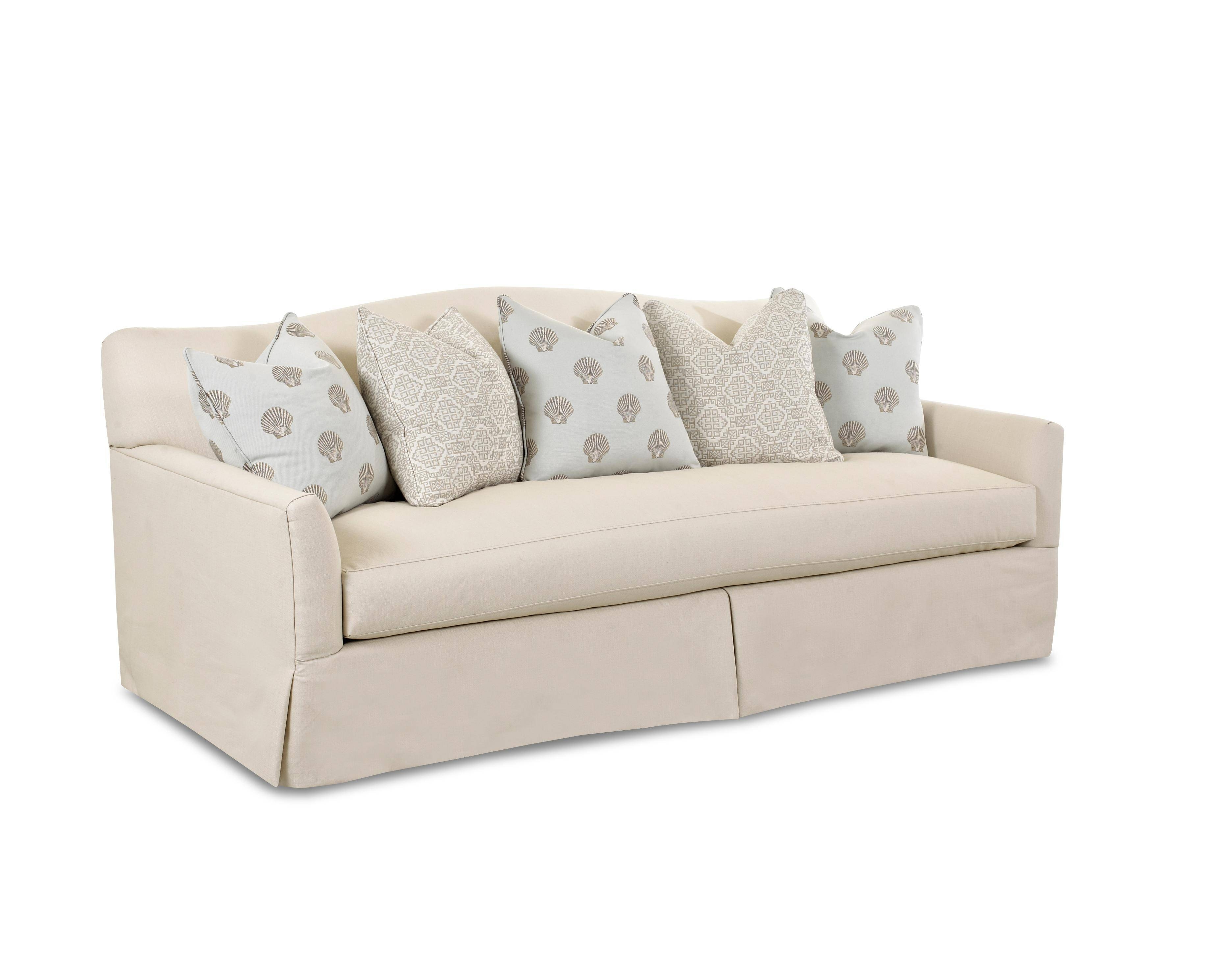 Transitional Stationary Sofa With Bench Seat Cushion, Camel Back inside Bench Cushion Sofas (Image 12 of 15)