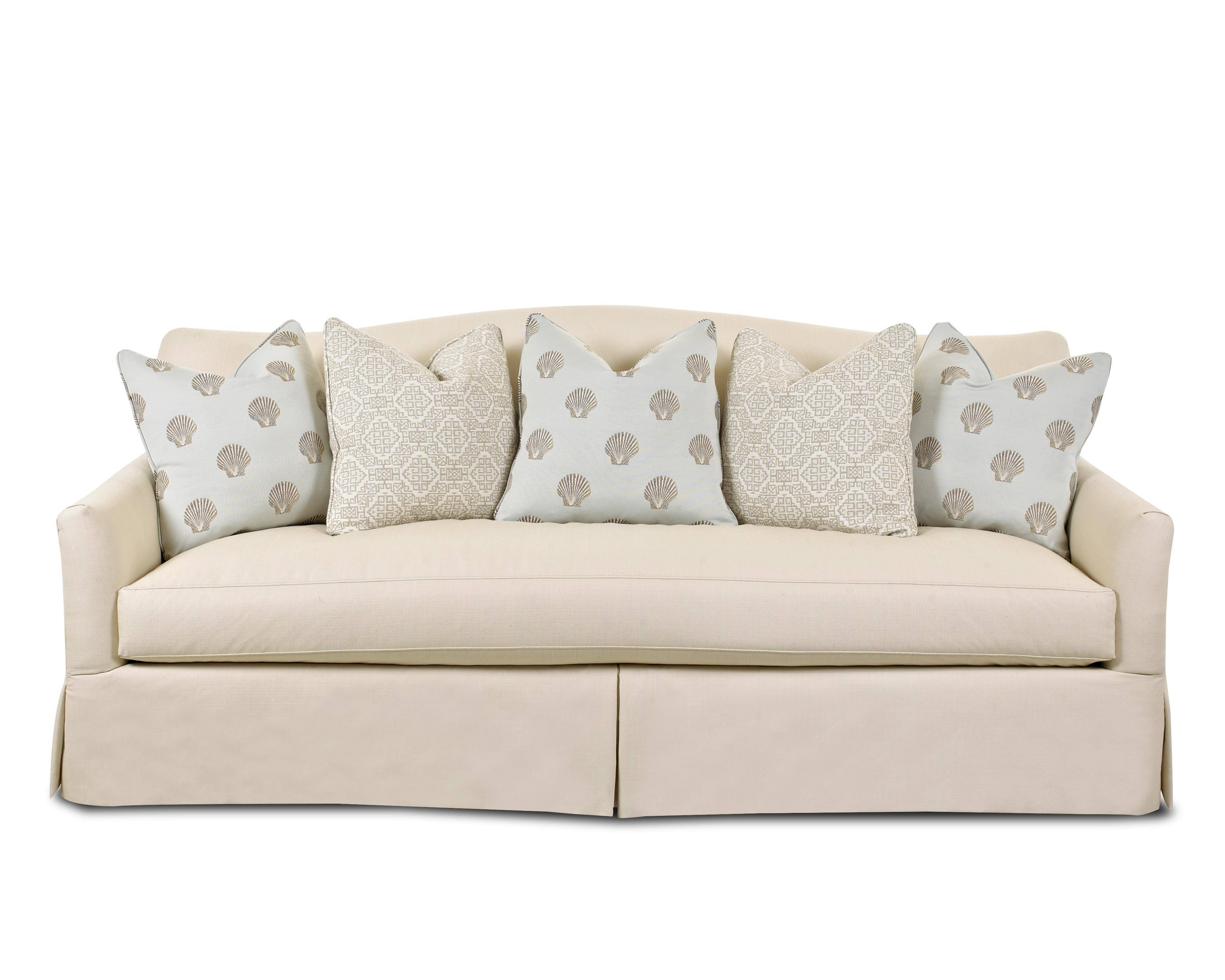 Transitional Stationary Sofa With Bench Seat Cushion, Camel Back throughout Bench Cushion Sofas (Image 13 of 15)