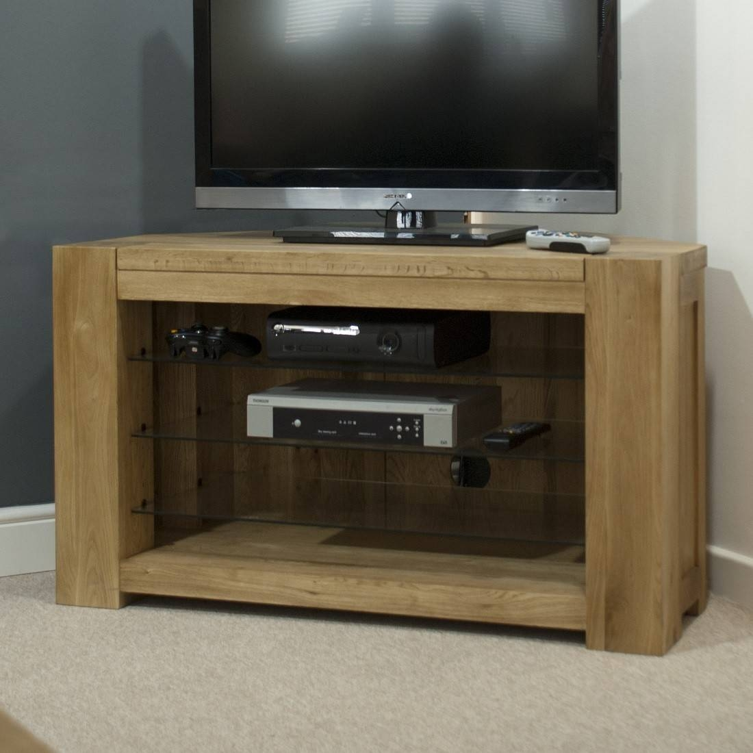 Trend Solid Oak Corner Tv Unit | Oak Furniture Uk throughout Oak Tv Stands For Flat Screens (Image 9 of 15)