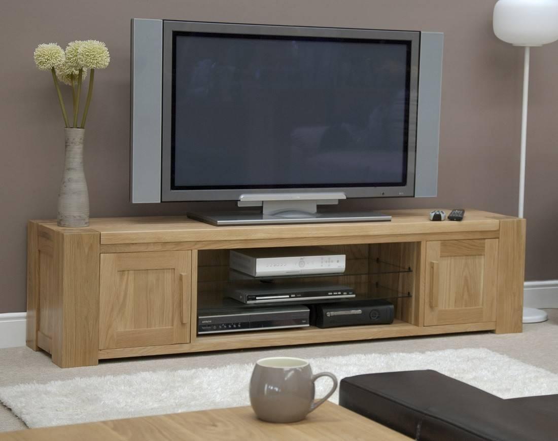 Trend Solid Oak Large Plasma/tv Unit | Oak Furniture Uk Regarding Large Oak Tv Stands (View 2 of 15)
