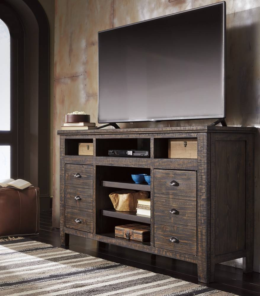 Trudell - Dark Brown - Xl Tv Stand W/frpl/audio Opt | W658-68 | Tv regarding Dark Tv Stands (Image 11 of 15)