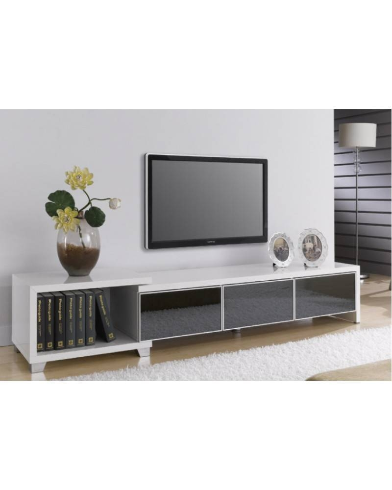 Ttn White & High Gloss Black Tv Entertainment Unit with Tv Entertainment Unit (Image 8 of 15)