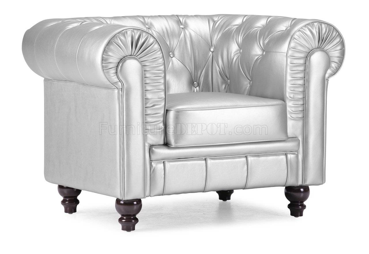 Tufted Leatherette Contemporary Living Room Sofa intended for Silver Tufted Sofas (Image 14 of 15)