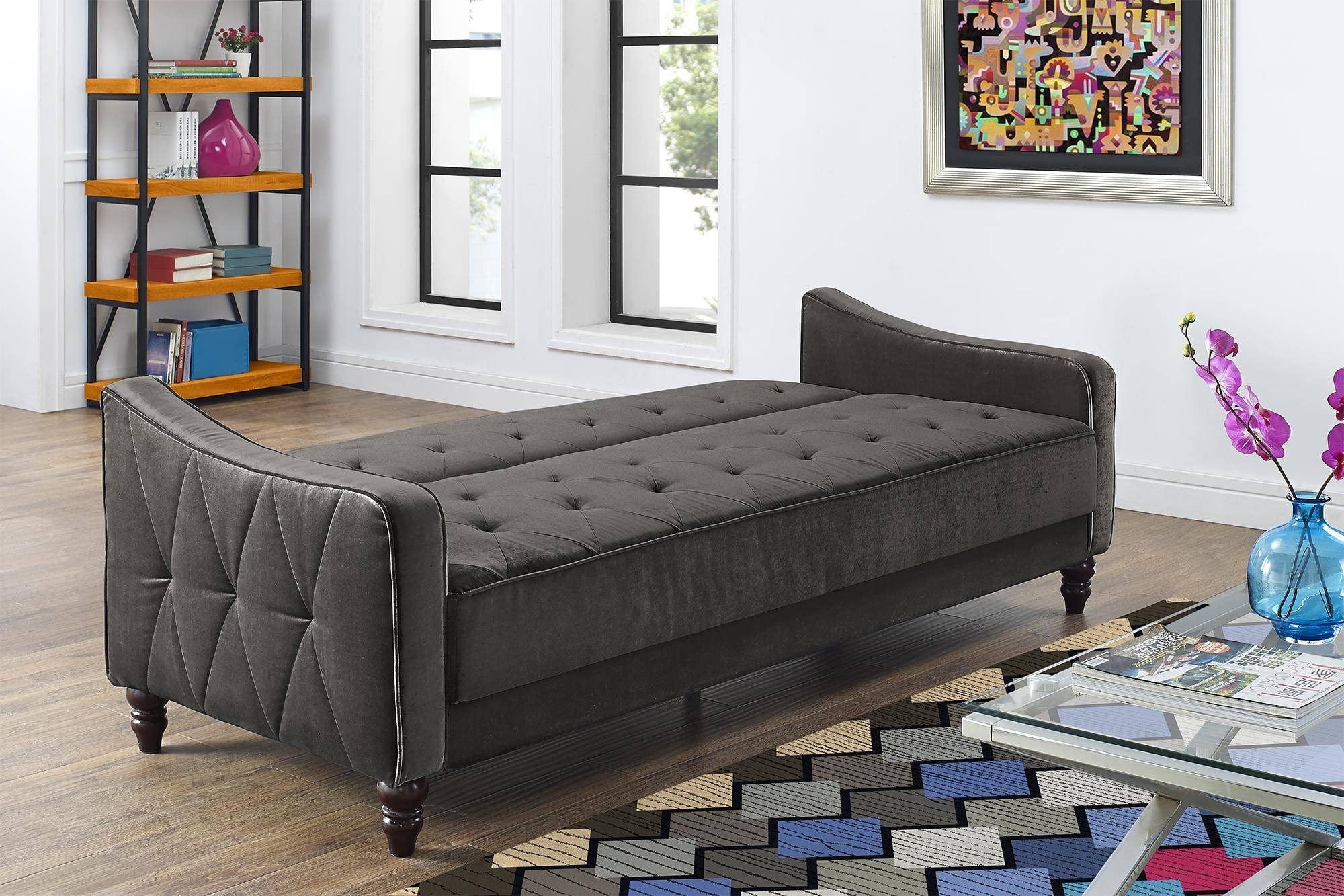 Tufted Twin Sleeper Sofa With Black Fabric Cover And Wooden Legs for Tufted Sleeper Sofas (Image 14 of 15)