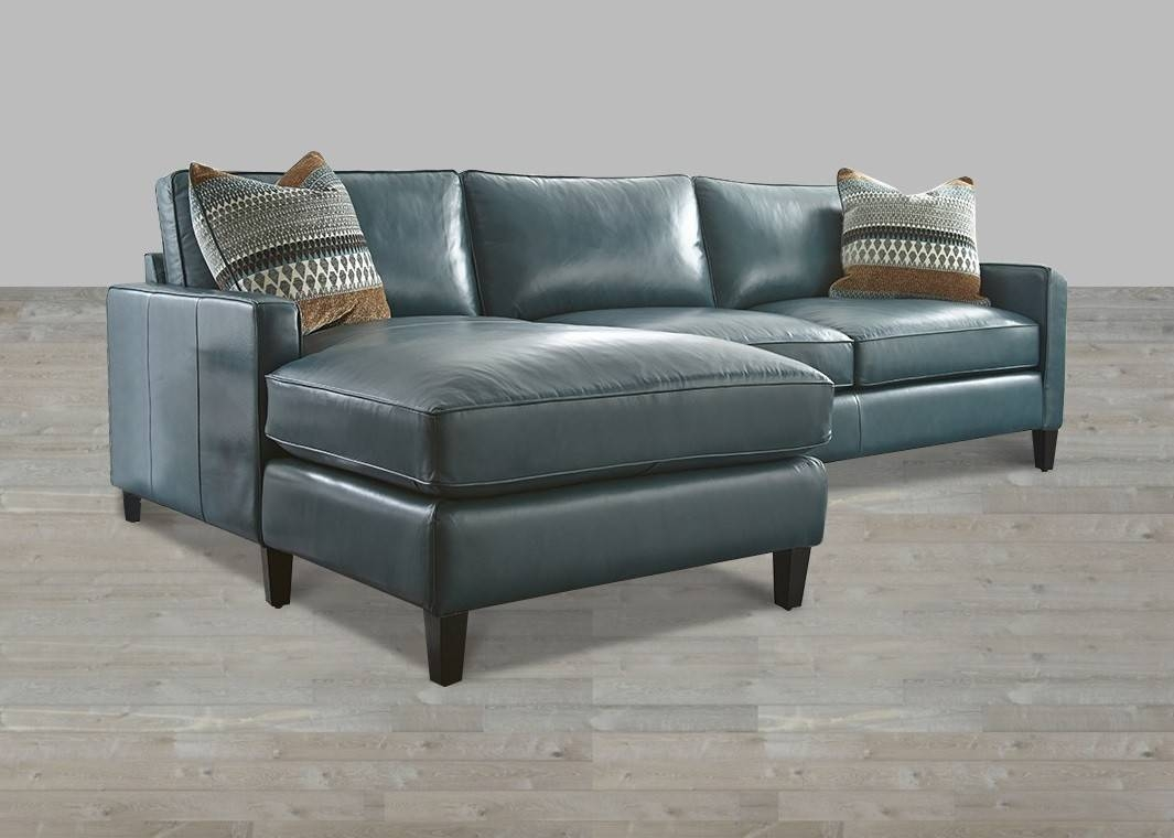 Turquoise Leather Sectional With Chaise Lounge throughout Blue Leather Sectional Sofas (Image 15 of 15)
