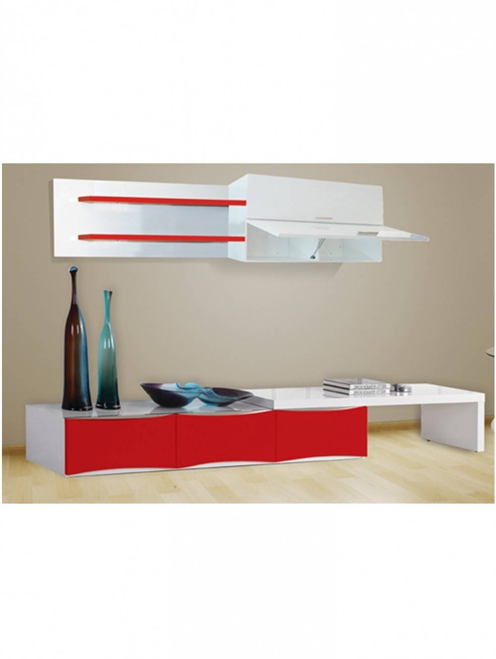 Tv-301 Washington Red And White Tv-Stand - Miami Furniture in Red Tv Stands (Image 14 of 15)