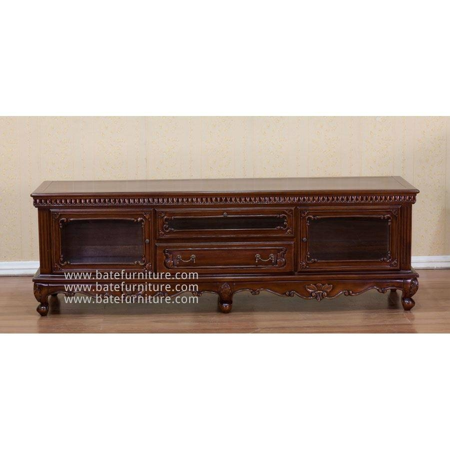 Tv Cabinet Mahogany Carving | Indonesian French Furniture | Teak Regarding Mahogany Tv Cabinets (View 7 of 15)