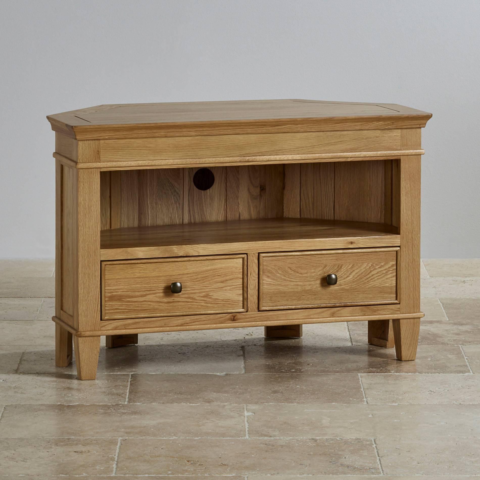 Tv Cabinets & Units | 100% Solid Oak | Oak Furniture Land with Oak Corner Tv Stands (Image 14 of 15)