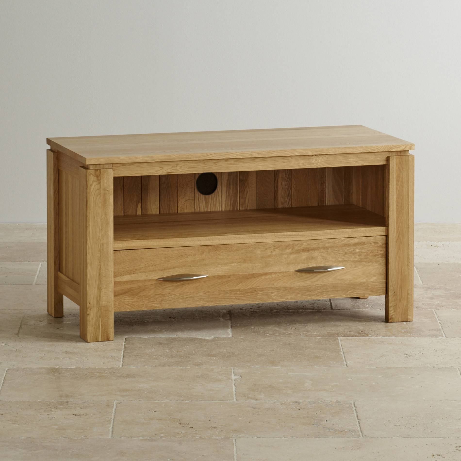 Tv Cabinets & Units | 100% Solid Oak | Oak Furniture Land With Oak Tv Cabinets For Flat Screens With Doors (View 9 of 15)